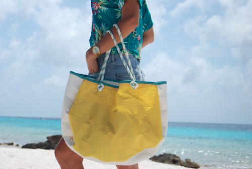 Beachbag aquamarine binding