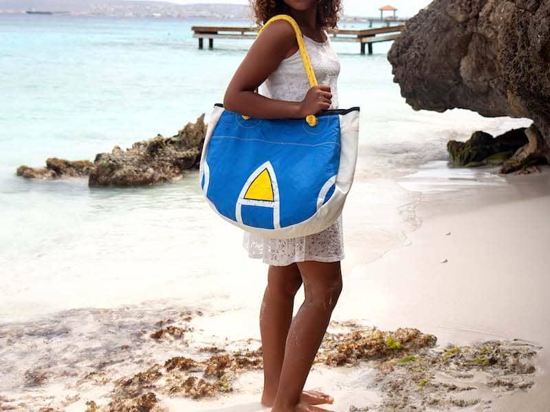 Beachbag Blue & Yellow with logo